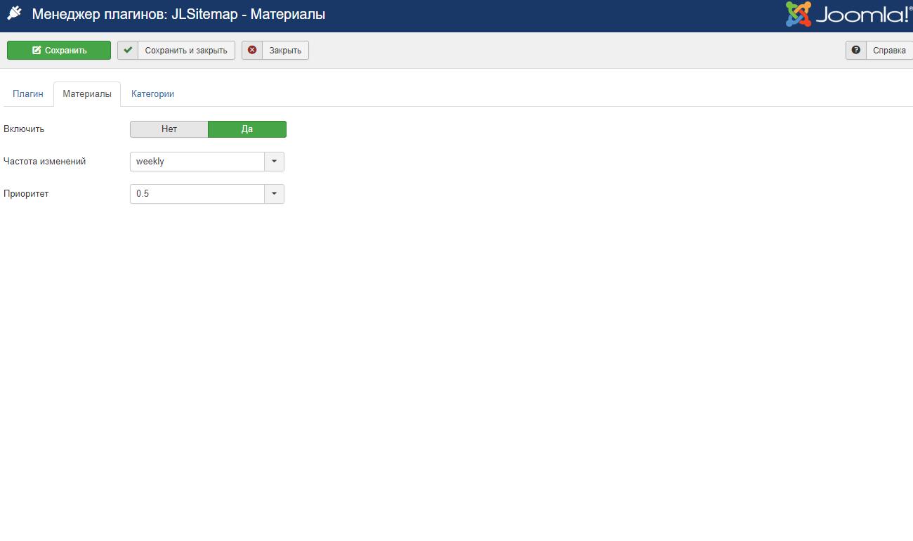 JL Sitemap - плагин материалов Joomla